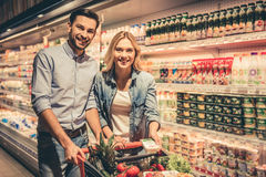 Couple at the supermarket Royalty Free Stock Photo
