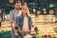 Couple at the supermarket Stock Photo