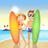 Couple with surf on the beach. Illustration of girl with surf on the beach Stock Image