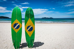 Couple of Surfboard of Brazil, at Ilha Grande Tropical Island, L Stock Photo