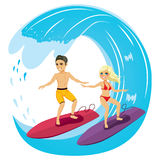 Couple Surfing Royalty Free Stock Photo