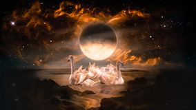 Couple of swans dancing in the landscape in fantasy alien planet. Sea with flaming moon and galaxy background royalty free stock image