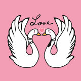 Couple swans lover kissing cartoon illustration Stock Image
