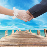 Couple sweet at beach Stock Image