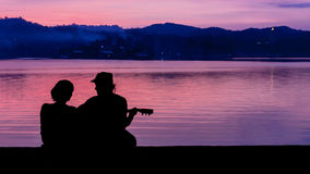 Couple sweet at mountain river side Stock Photography