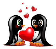 Couple sweet penguins Royalty Free Stock Photos