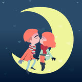 Couple sweetheart lovers kiss on the moon. Stock Photos