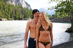 Couple in swim suits Royalty Free Stock Image