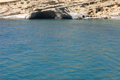 Couple swimming in the mediterranean ocean Royalty Free Stock Image
