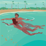 Couple swimming in the ocean. Happy couple swimming in the sea near the beach - Honeymoon or vacation concept royalty free illustration