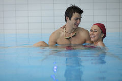 Couple in swimming pool Stock Photo