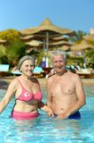 Couple swimming in pool Royalty Free Stock Photo