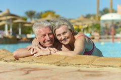 Couple swimming in pool Royalty Free Stock Images