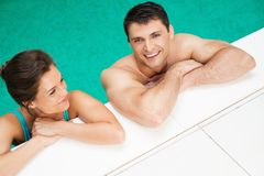 Couple in a swimming pool Stock Photo