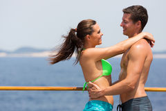 Couple swimsuits cruise Stock Images
