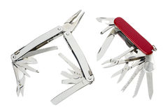 Couple of swiss army knives on white Royalty Free Stock Photography