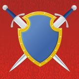 Couple Swords And Blues Shield Stock Image