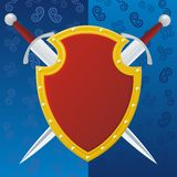 Couple Swords And Reds Shield Royalty Free Stock Photography