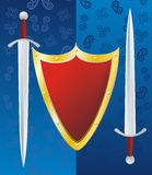 Couple swords and reds shield Stock Images