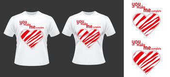 Couple T shirt desdign with hearts Royalty Free Stock Photography