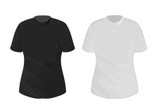 Couple of t-shirts. Computer-generated illustration of a couple of t-shirts, without any writing or image. The former is black, the latter white Stock Photos