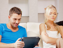 Couple with tablet PC Stock Images