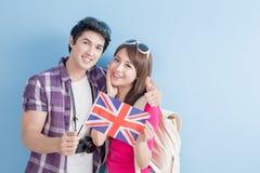 Couple take british flag Stock Photos