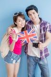Couple take british flag Royalty Free Stock Images