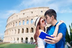 Couple take selfie in Italy royalty free stock photo
