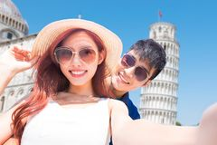 Couple take selfie in Italy stock photo