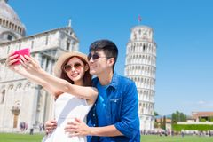 Couple take selfie in Italy royalty free stock images