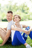 Couple taking a break from exercises Royalty Free Stock Images