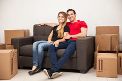 Couple taking a break from moving Royalty Free Stock Photography