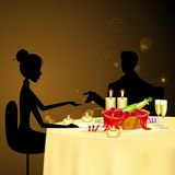 Couple taking Candle Light Dinner. Illustration of couple taking candle light dinner Royalty Free Stock Image