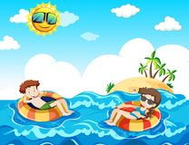 A Couple Taking Honeymoon at the Beach. Illustration Royalty Free Stock Image