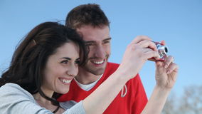 Couple taking a photo stock video footage