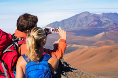 Couple Taking a Photo of Themselves with Phone Royalty Free Stock Image