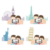 Couple taking photo of themselves when travelling. Vector illustration of a couple taking photo of themselves when travelling Royalty Free Illustration
