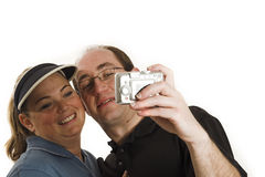 Couple Taking Pictures Close Up Royalty Free Stock Images