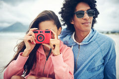 Couple taking pictures together Royalty Free Stock Photo