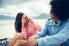 Couple taking pictures together Stock Image