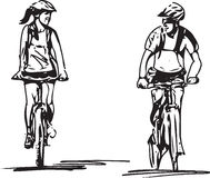 Couple taking a ride on a bicicle. Abstract illustration of a couple taking a ride on a bicicle vector illustration
