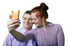 Couple taking self portait. Stock Photo