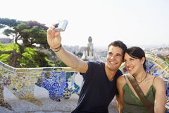 Couple Taking Self Portrait At Barcelona royalty free stock photos
