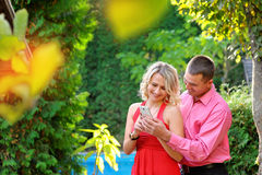 Couple taking self-portrait photos with mobile smart phone royalty free stock image