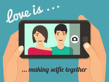 Couple taking selfie. Love is Couple taking selfie together. Hand holding smartphone vector illustration Stock Photography