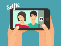Couple taking selfie Stock Photo