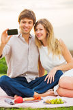 Couple Taking Selfie With Mobile Phone Stock Photography