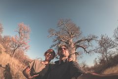 Couple taking selfie near Baobab plant in the african savannah with clear blue sky. Fisheye view from below, toned image. Wilderne Stock Images