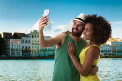 Couple taking a selfie photo in Recife, Brazil.  Royalty Free Stock Images